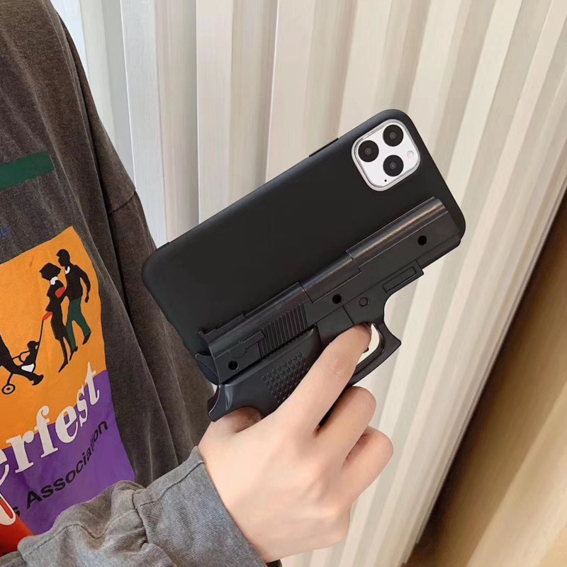 Luxury 3D Interesting Gun Mobile Phone Case For IPhone 11 Pro Max XS Max XR SE 2020 7 8P Soft Silicone Kitchen Knife Back Cover