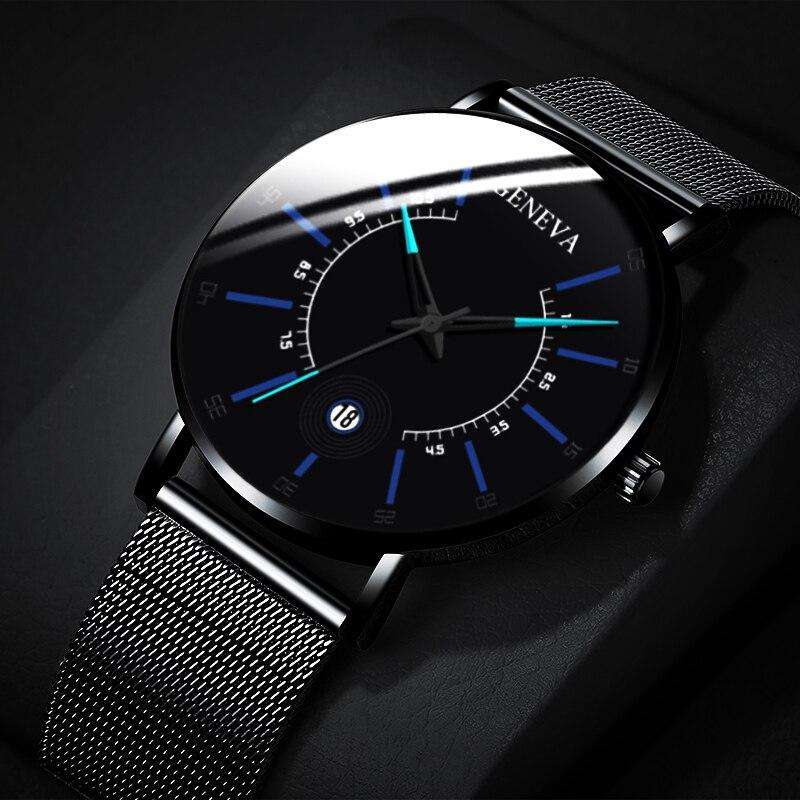 Fashion Mens Business Watches Luxury Stainless Steel Ultra Thin Mesh Belt Quartz Men Wrist Watch Casual Classic Black Male Watch 1