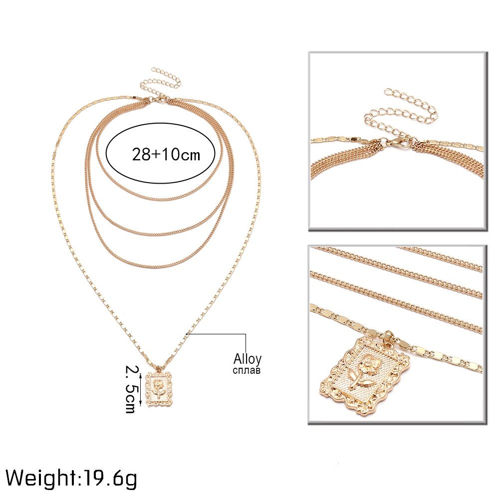 Ingemark Statement Multilayer Square Pendants Rose Pattern Circle Choker Necklace Clavicle Chain Fashion Jewelry for Women 1