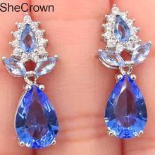 Fancy Rich Blue Violet Tanzanite CZ Woman's Present Silver Earrings 18x8mm