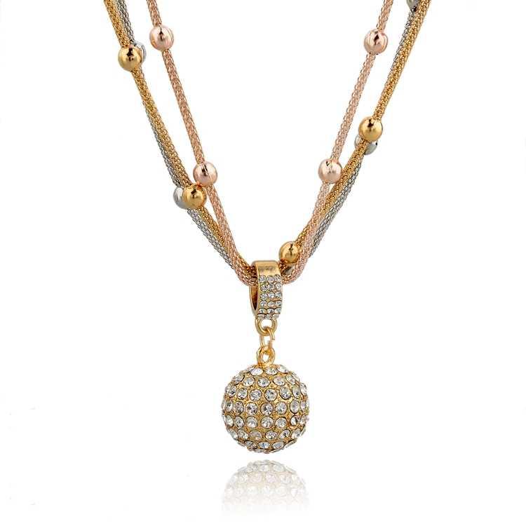 Szelam 3 Vàng Hoa Hồng Phối Bạc Sắc Màu Pha Lê Vòng Tay Charm Vintage Bóng Mặt Dây Chuyền Vòng Cổ Trang Sức Nữ SNE140451