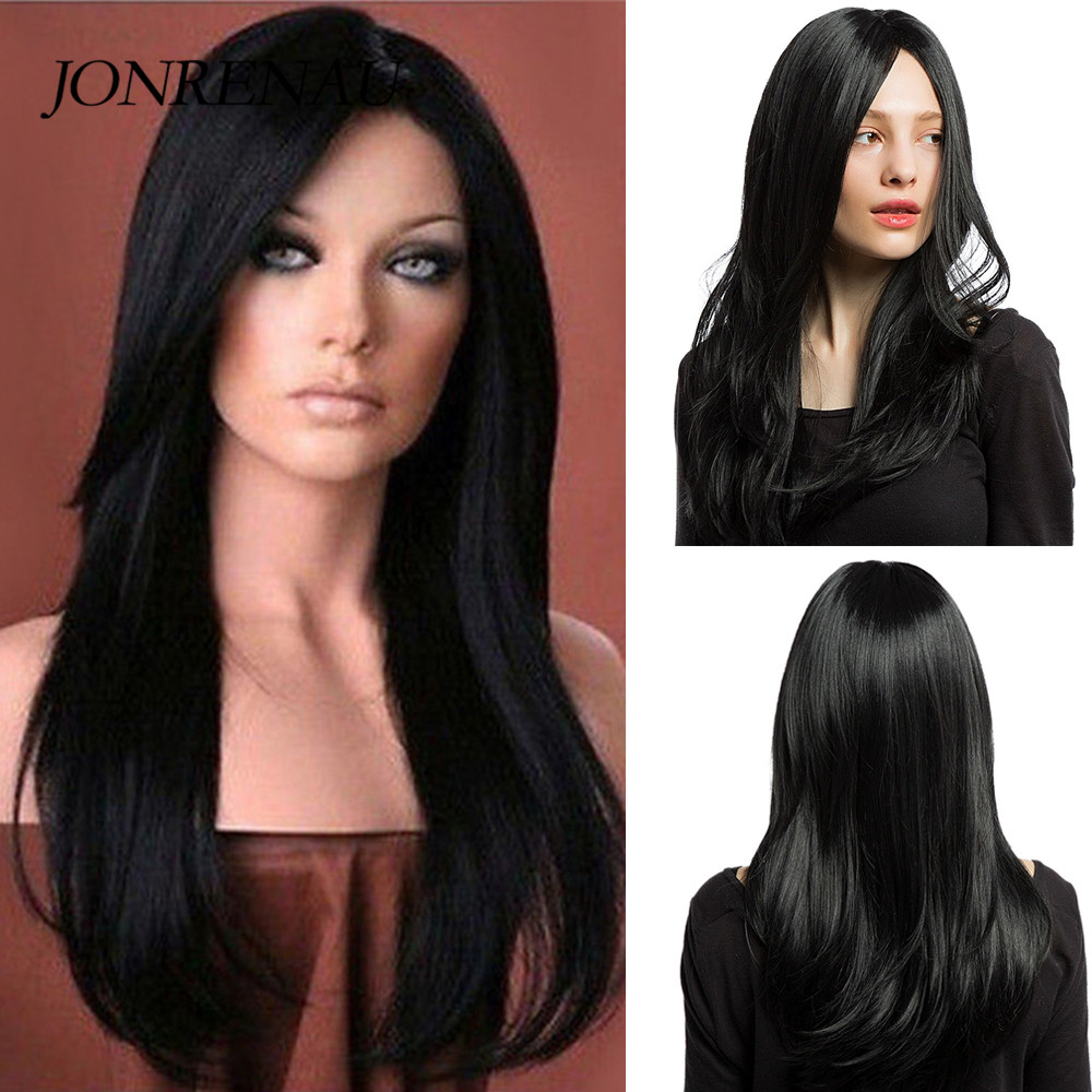 JONRENAU Long Silky Straight  Natural Black Hair Synthetic Wigs For White/Black Women Party Or Daily Wear