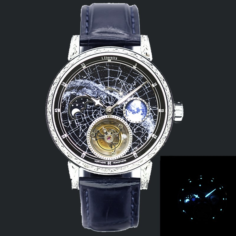 High-end Men's Automatic Tourbillon Watches Fashion Super Starry Sky Moon phase Luminous Men Tourbillon Wristwatch Luxury Gift 1