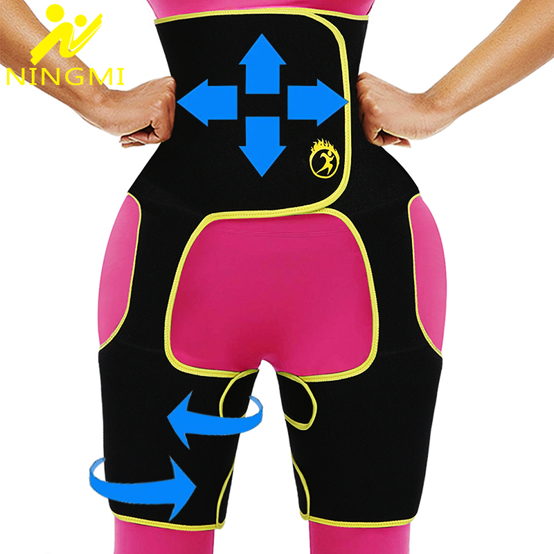 NINGMI Women Slimming Waist Trainer Leg Shapers 3 in 1 Body Shaper Push up Butt Lifter Neoprene Shapewear Thigh Trimmer Hip Belt