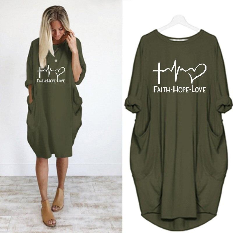 Повседневные свободные платья для женщин с длинным рукавом осень весна Свободное платье для женщин размера плюс карманы принт платье для в...