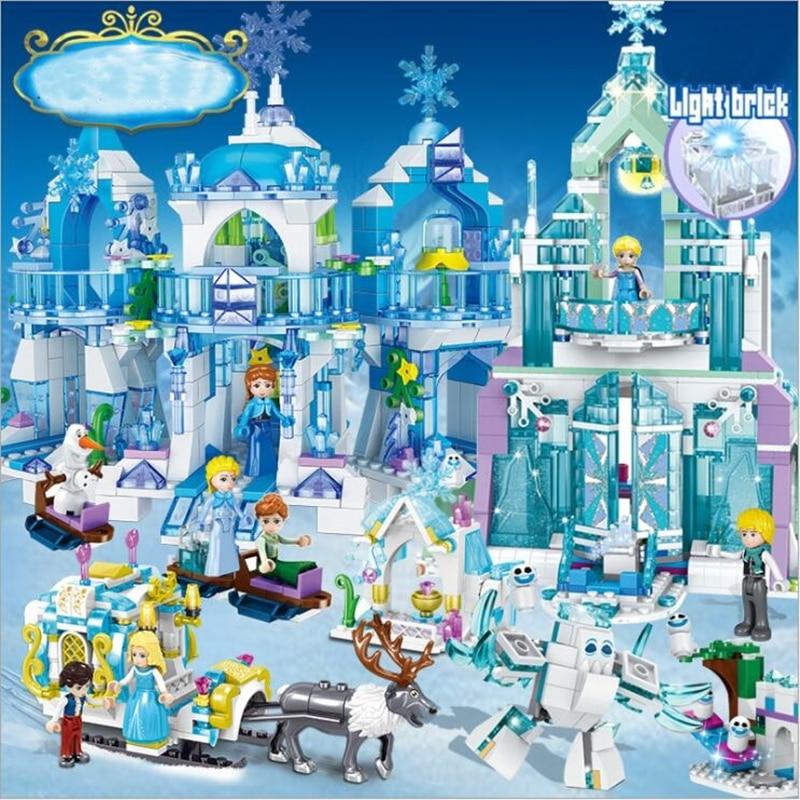 Frozen 2 Castle Building Blocks Snow Queen Elsa Anna Cinderella Ariel Figure Compatible Legoinglys Friends Bricks Toys Model