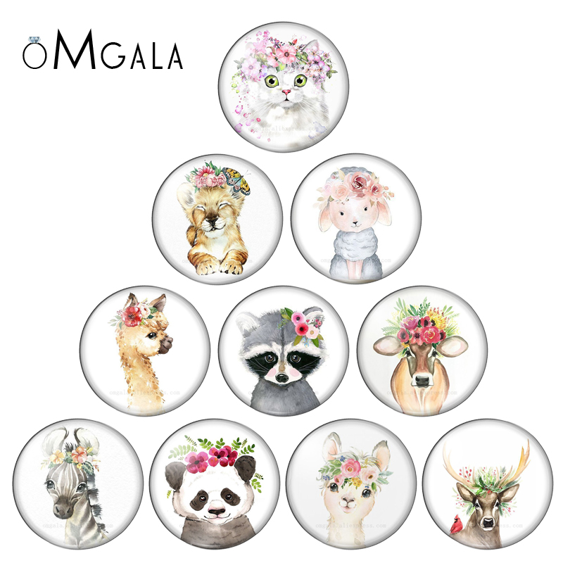 10mm 12mm 16mm 20mm 25mm 30mm Cat Animal Flower Mix Round Glass Cabochon Jewelry Finding 18mm Snap Button Charm Bracelet