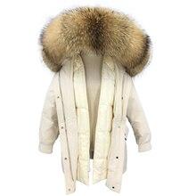 Парка из натурального меха, зимняя куртка для женщин, пуховое пальто, теплая Роскошная парка с большим воротником из меха енота, толстая верхняя одежда