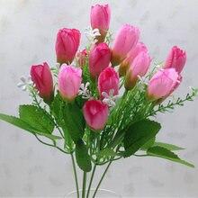 Flores artificiales de 15 cabezas, flor de rosa de seda Artificial, decoración de boda, ramo falso, Buch, boda, hogar, Par