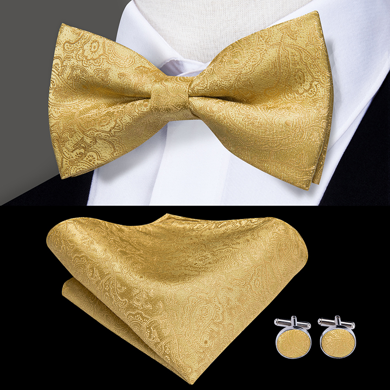 LH-512 Hi-Tie 100% Silk Luxury Designer Paisley Flower Gold Bow Ties For Men Classic Wedding Party Hanky CUfflinks Set BowTie
