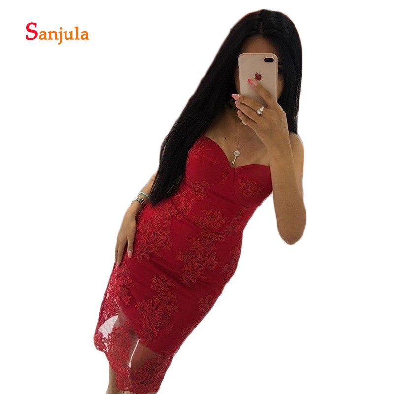 Red Lace   Cocktail     Dresses   Knee Length Sweetheart Spaghetti Straps Sheath Prom Gowns Girls Graduation   Dresses   sukienki D1251