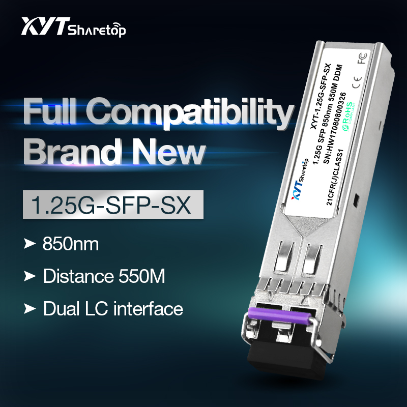 Sharetop 1.25G 1000M Optical Transceiver Module Multi Mode Dual Fiber SFP-1000M-850nm 550m Dual LC Port Full Compatible