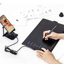 Huion h1060p 8192 caneta pressão 12 expresso chaves gráfico desenho tablet bateria-livre stylus tilt 60 60 ° digital tablet otg adaptador