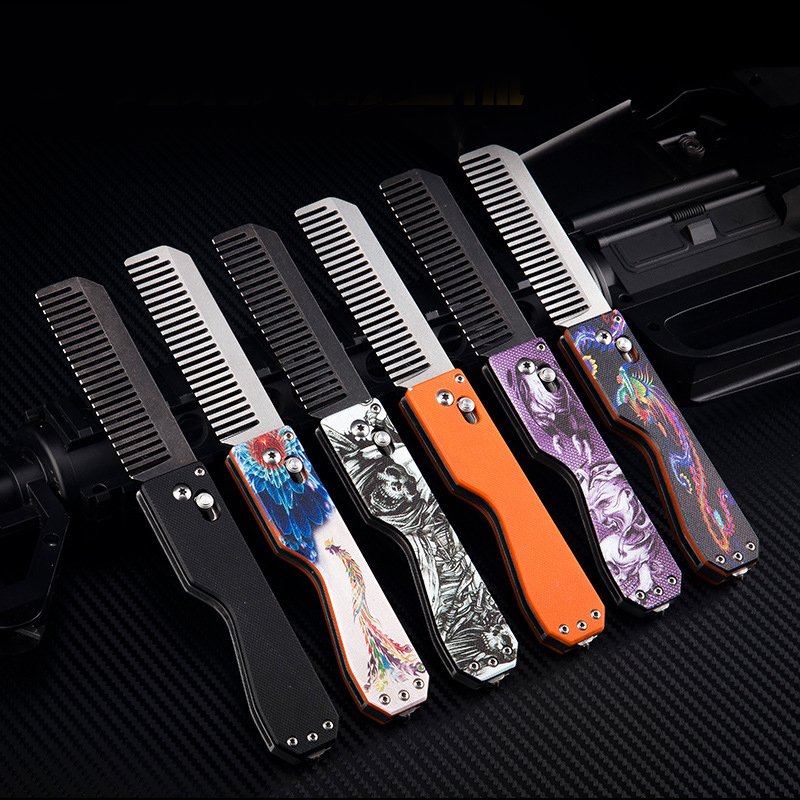 EDC Foldable Tactical Comb Tungsten Steel Head Self Defense Personal Security Multifunction Tool Equipment Comb Survival Tools