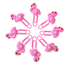 8pcs Pvc Soft Plastic Metal Bookmark Holder Flamingo Paper Clip Unicorn Office Stationery Gift Cute Clips