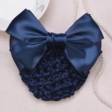 Fashion Sweet Girl Satin Bow Barrette Women Hair Clip Cover Bowknot Bun Snood Accessories