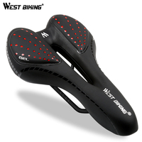WEST BIKING Bicycle Saddle Breathable PU Leather Hollow Cushion Comfortable Road MTB Bike Saddle GEL + Polyurethane Shockproof|Bicycle Saddle| |  -