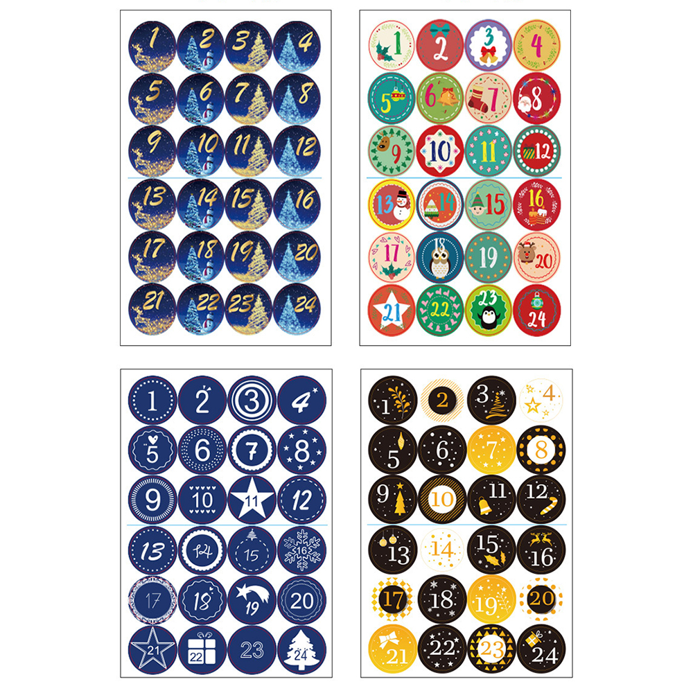 24Pcs//set Christmas Sticker Calendar Number Seal Xmas Decoration Diy Gift Label