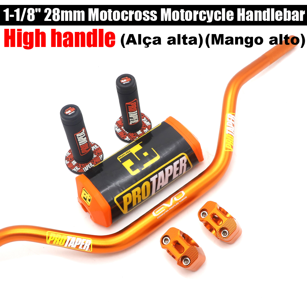 28MM High Motorcycle Handlebars Fat Bars+ Grips Protaper Bar Pad For Dirt Bike SUZUKI DRZ400 RMZ450 RMZ250 Handlebar     - title=