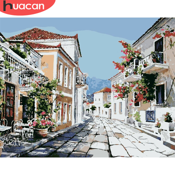 HUACAN Paint By Number Street Drawing On Canvas HandPainted Painting Art Gift DIY Pictures By Number House Kits Home Decor