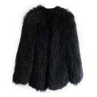 Real Fur Long Raccoon Dog Fur Overcoat Lady Fashion 100% Knitted Real Genuine Raccoon Fur Coat Jackets Wearcoat Long Vintage