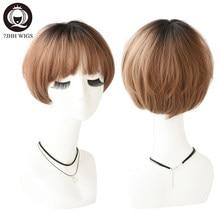 7JHH – perruque synthétique courte avec frange pour femmes, postiche Bob lisse, brune claire, douce et naturelle, à la mode