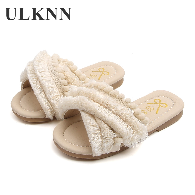 ULKNN 2020 Summer Girls Shoes New Smmer Fashion Kids Girls Sandals Children Tassel Princess  Baby Leather Girl Shoes
