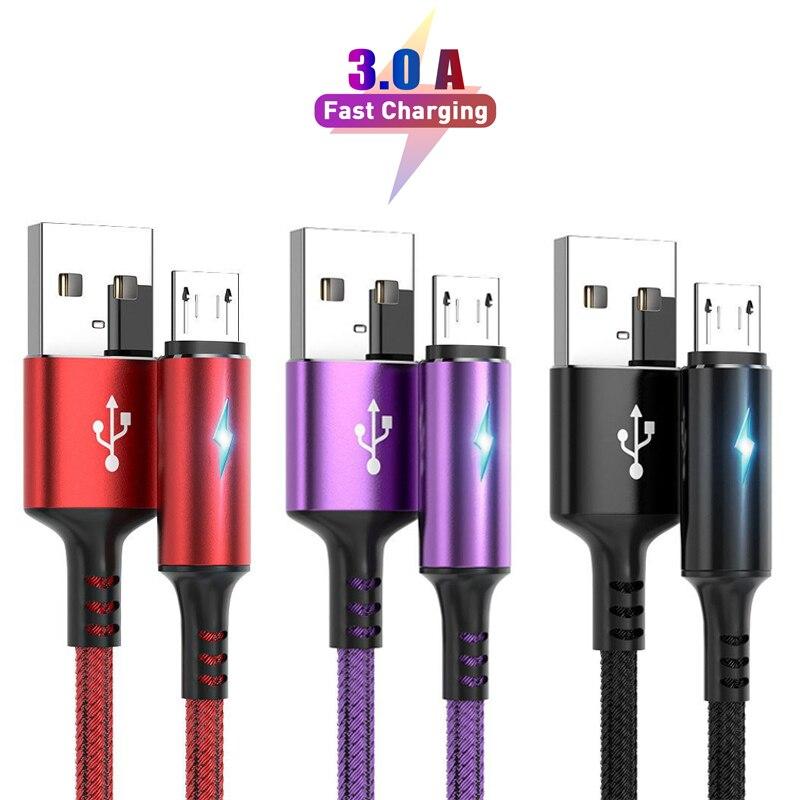 2 м длинный микро USB кабель и кабель типа C 3A Быстрая зарядка для Samsung Xiaomi мобильный телефон кабель для передачи данных TypeC для Xiaomi Redmi Note 8