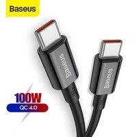 Baseus 100W USB C a USB a Cable de tipo C Quick Charge 4,0 de 3,0 QC 3,0, 4,0 para MacBook Pro para iPad Samsung Xiaomi Cable de carga