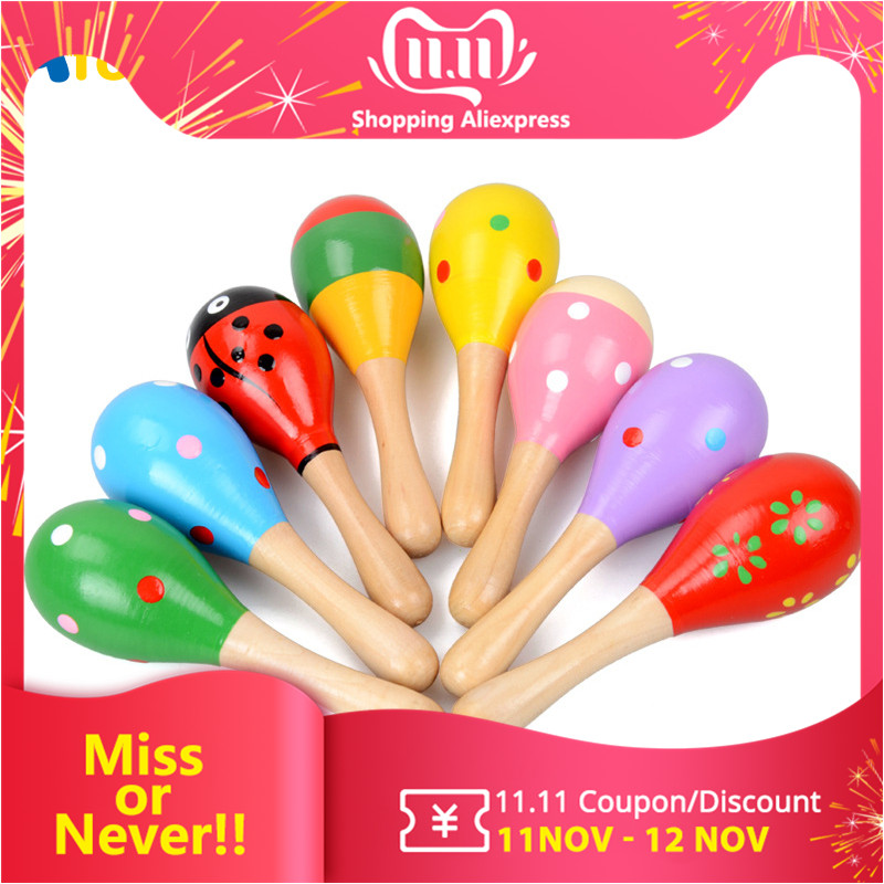Wooden Maracas Baby Child Toy Musical Instrument Rattle Shaker Party Children Gift Toy Early Educational Toys Gift For Kids