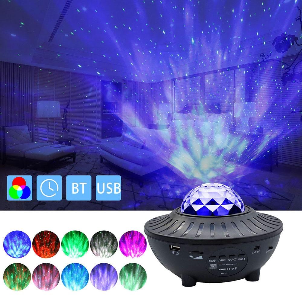 Цветной проектор звездного неба Blueteeth, музыкальный проигрыватель с голосовым управлением через USB, светодиодный ночсветильник, USB-зарядка, п...