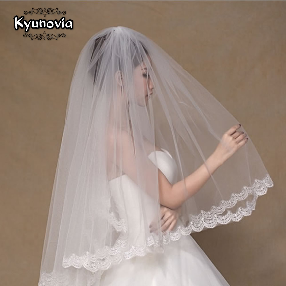 Wedding 2 Tier White or Ivory Cathedral Lace Edge Wedding Bridal Veil with Comb