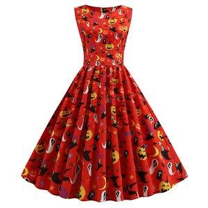 Летнее женское платье на Хэллоуин с принтом тыквы, платья с рукавами, большие красные вечерние платья в стиле ретро без рукавов с круглым во...