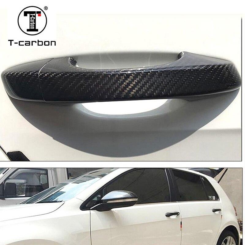 Garnitures extérieures de bouton de poignée de porte automatique de Fiber de carbone pour Volkswagen golf 6 Passat GranLavida Scirocco pour Touareg 2010-2018
