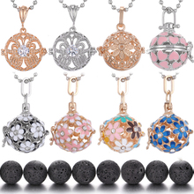 Diffuser Necklace Fashion Daisy Sunflower Lava Stone Pregnancy Chime Ball Essential Oil Aromatherapy