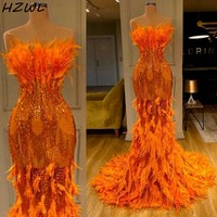 Feathers Orange Mermaid Prom Dresses With Strapless Sequined Sparkle Mermaid Evening Gowns robes de soirée Red Carpet Dress