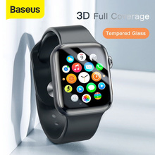 Baseus 0.2mm Thin Protective Glass For Apple Watch 4 5 6 SE 3D Full Coverage Tempered Glass For iWatch 4 3 2 Screen Protector