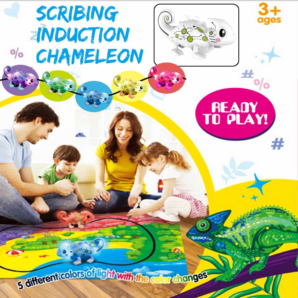 Kids Toys Scribble Pen Induction Chameleon Educational Improve Creativity Follow Robot Music Cute Gift Children Inductive Toy