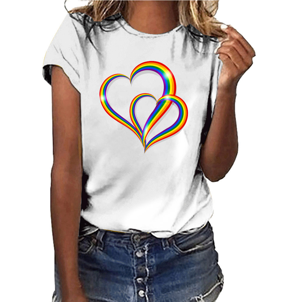 Hillbilly Cotton T Shirt For Women Clothing Round Neck Short Sleeve Lover Heart Harajuku Couple Tops Tees Shirt Femme Size S-XXL