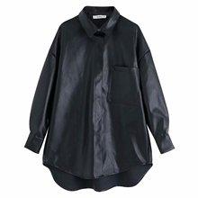 Kobiety PU skóra czarna bluzka oversized style kieszeń nieregularna z długim rękawem kobieta casual elegancka luźna bluzka blusas tanie tanio JOYINPARTY Poliester Stałe Pełna Skręcić w dół kołnierz Kieszenie Streetwear
