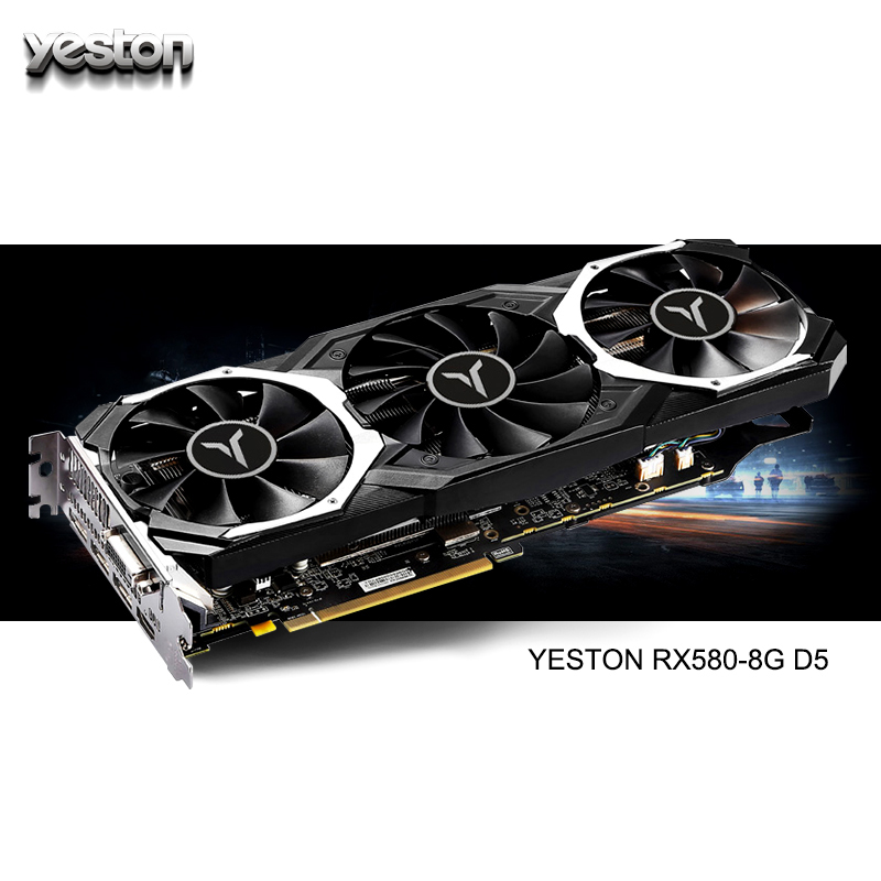 Yeston Radeon RX 580 GPU 8GB GDDR5 256 Bit Gaming Desktop Computer PC Video Graphics Cards Support DVI/HDMI PCI-E X16 3.0