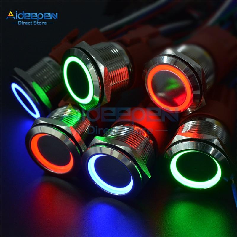 Металлический кольцевой кнопочный переключатель, 16 мм, 19 мм, 22 мм, светодиодный кнопочный переключатель питания, самоблокирующийся/самосброс, тип 9 В, 12 В, 24 В, 220 В, 5 А