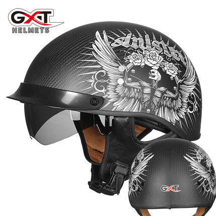 GXT Carbon Fiber Motorcycle Helmet Vintage Scooter Half Face Retro Biker Motorbike Crash Moto With Visor