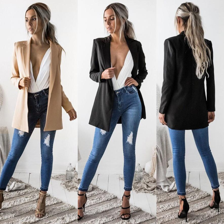 Coats Blazers Ladies Long Sleeve Cardigan Casual Blazer Suit Outwear Twill Coats And Jackets Women 2018jul27