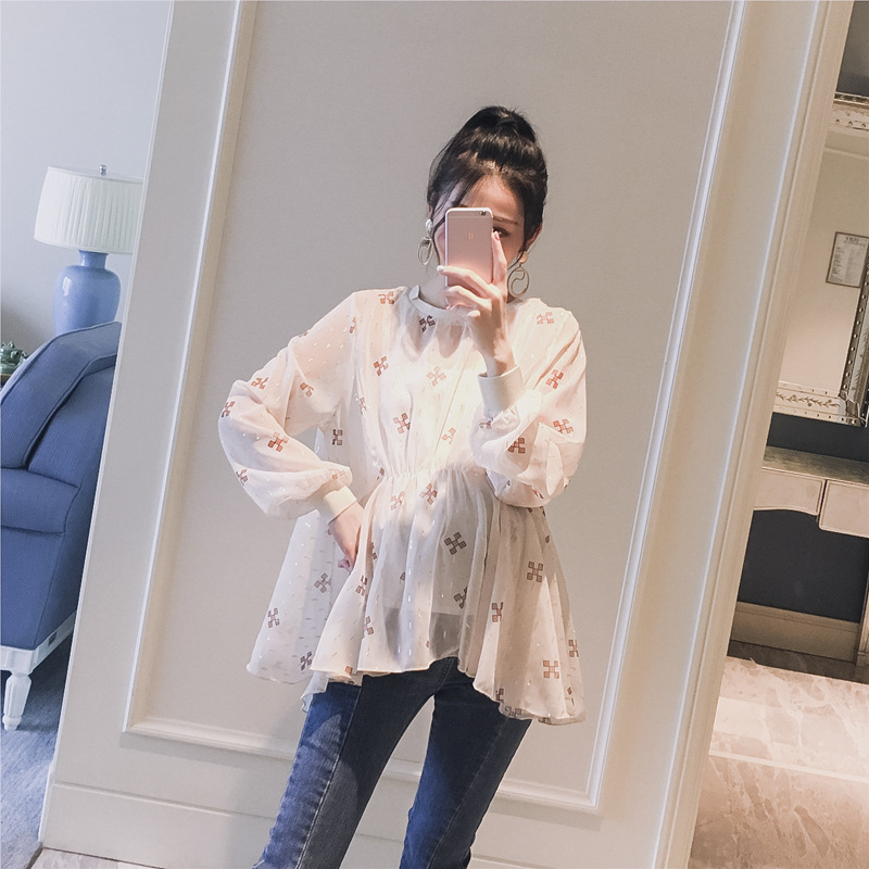 2018 New Spring Flower Printing A-Line Tops For Pregnant Women Maternity Clothing Rouned Neck Maternity Doll Shirt