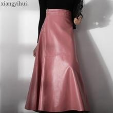 女性エレガントなオフィスピンク革スカート2020ファッション高ウエスト女性の冬のpuロングスカートストリートカジュアルaライン黒秋