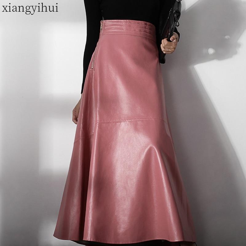 Ladies Elegant Office Pink Leather Skirt 2019 High Waist Autumn Winter Female Pu Long Skirt Fashion European Station A Line