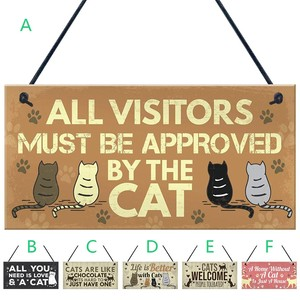 Cat Tags Rectangular Wooden Pet Tag Cat Accessories Lovely Friendship Animal Sign Plaques Rustic Wall Decor Home Decor Drop Ship