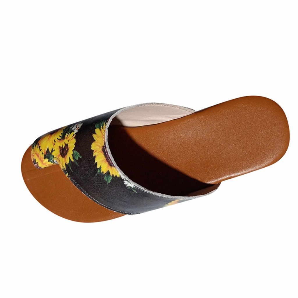 Ayakkabı kadın sandalet daireler takozlar burnu açık ayak bileği plaj ayakkabısı roma çiçek sandalet kadın baskı ortopedik Bunion düzeltici