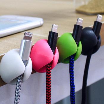 4 sztuk zestaw oplot na kable Organizer do kabli uchwyt słuchawkowy silikonowy krawat Fixer Wire Management pulpit organizator na kable tanie i dobre opinie